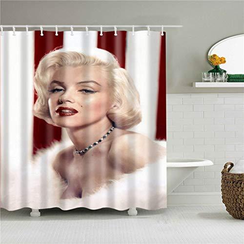 QUNMTP Duschvorhang Hochwertiger Retro sexy Duschvorhang Marilyn-Monroe Portrait wasserdichter Badezimmer Polyester Stoff Vorhang mit Haken