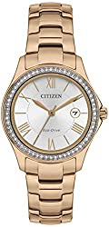 Eco-Drive Movement Genuine Swarovski Crystals 50m Water Resistant Luminous Hands Rose Gold Case & Bracelet Comes with a 5 Year Citizen UK Warranty