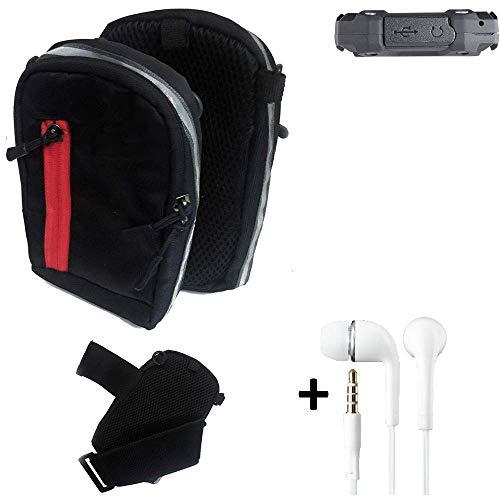 K-S-Trade Outdoor Gürteltasche Holster Umhängetasche + Kopfhörer Für Simvalley Mobile SPT-210 Schwarz Handytasche Hülle Travelbag Schutzhülle Handyhülle