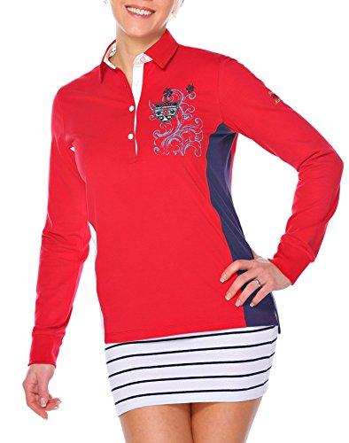 M.Conte Damen Poloshirt Polo-Sweat Sweatshirt Langarm Munia Rot S