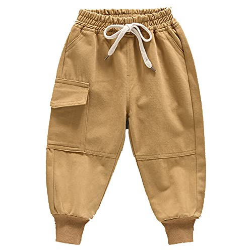 iiniim Baby Boys Comfortable Flat-Front Pants Jeans Toddler Pull-on Denim Casual Pants Trousers Yellow A 12-18 Months