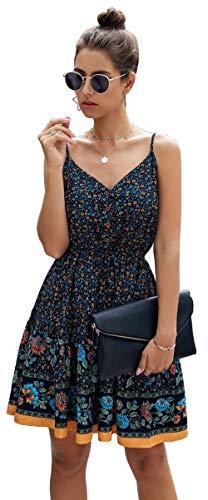 Longwu Mini Vestido de Playa sin Espalda con Cuello en V y Estampado de Flores con Estampado de Flores de Boho para Mujer Azul Oscuro-L