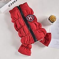 赤青ピンク色暖かい全身4本足のペットの犬の服秋と冬の防風犬の冬のジャケット、赤、M