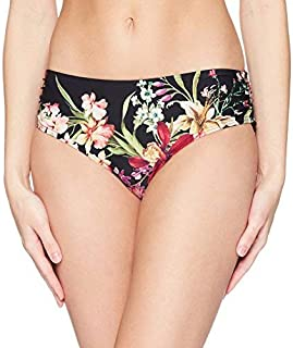 Carmen Marc Valvo Women's Bikini Bottom Swimsuit with Shirred Detail Black Medium [並行輸入品]
