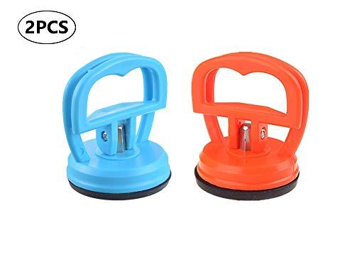 Vacuüm zuignap Glazen Lifter, Zuignap, Vacuüm Lifter voor Glas/Tegels/Spiegel/Graniet Lifting, Gripper Sucker Plate, Dubbele Handvat vergrendeling 2 Pack, Oranje en Blauw
