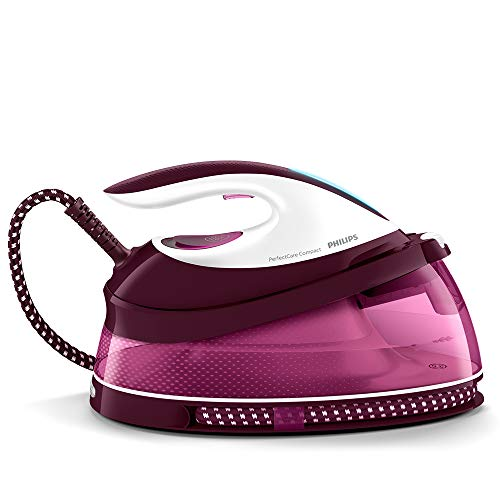 Philips PerfectCare Compact Steam Generator Iron with 400g steam Boost, 2400 W, Burgundy & White - GC7842/46
