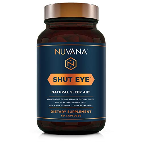 Shut Eye Natural Sleep Aid | Herbal Relaxation Supplement Made with Valerian Root, Melatonin, Chamomile, Magnesium | Insomnia & Anxiety Relief | Extra Strength Sleeping Pills | 60 Vegan Capsules