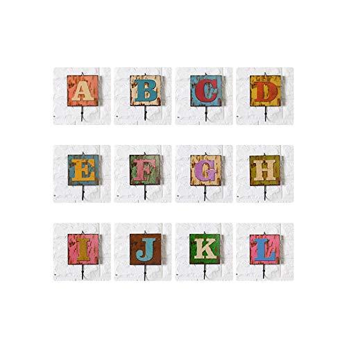 WANNFNG (1 paquete) creativo decoración del hogar gancho americano retro 26 letras inglesas decoración de pared café y ropa tienda C