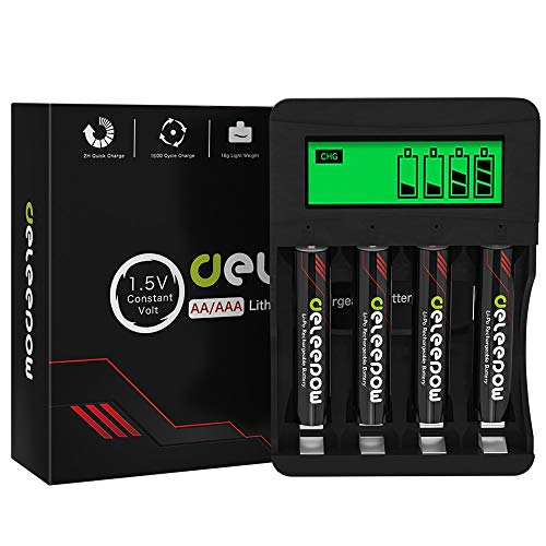 Deleepow AAA Rechargeable Batteries Lithium 1.5V 1200mWh,1500 Cycles AAA Lithium Batteries Rechargeable with 2H LCD Fast Charger