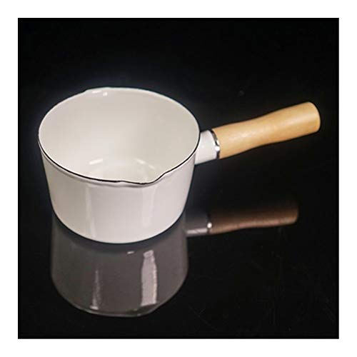 700ml Enamel Single Handle Milk Coffee Verwarming Pot Babyvoeding kooksaus Pan Kitchen Pot for inductie kookplaat, Gasfornuis (Color : 1)