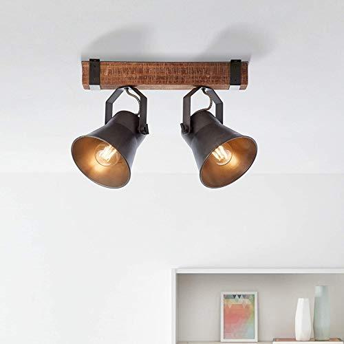 Lámpara de techo rústica, 2 focos, color negro y marrón, E27, máx....