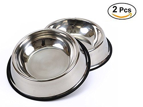 BPS® 2x Comedero Bebedero Acero Inoxidable para Perro Gato Mascotas D