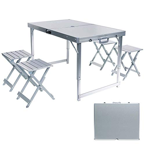 AceLife Folding Picnic Table with Umbrella Hole and 4 Folding Stools