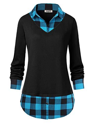 Women's Plaid Layered T-Shirt, Curved Hem Buttons Pullover Tops 3/4 Sleeve Sweatshirt T-Shirt Top XL Blue Plaid