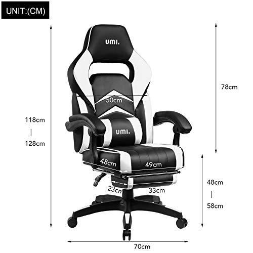 Amazon Brand - Umi Chaise Gaming de Bureau Fauteuil Gamer en Cuir PU Conception Ergonomique avec Repose-Pieds Télescopique Dossier Inclinable Accoudoirs Rembourrés (Blanc)