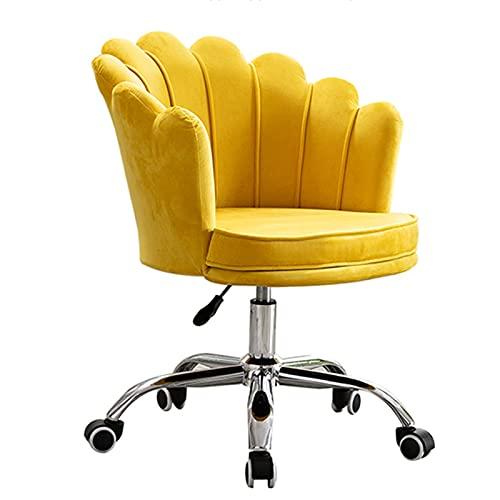 Estudio de dormitorio Sillones de computadora, silla de escritorio Sillón para casas, Telas modernas ajustables Sillas de escritorio de oficina con pétalo grande y apoyabrazos ( Color : Yellow )