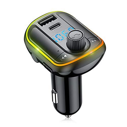 Leeofty Coche Bluetooth 5.0 Transmisor FM Reproductor modulador MP3 Receptor de Audio Manos Libres inalámbrico Cargador rápido USB Dual 3.1A Reproductor de música MP3 Disco TF/U