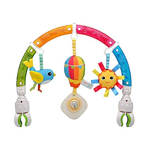 Paseo actividad arco con sonajero juguetes, bebé colgando juguetes de peluche, bebé cochecito cuna actividad arco felpa juguete, bebé sonajero juguete