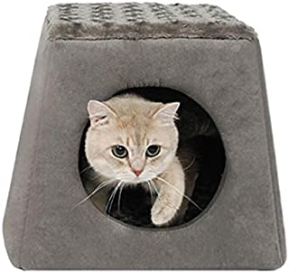 Zeze Collapsible and Premium Pets Cave, Fordable Warm House Felt Bed Cave - Pets Sleeping Mat, Cube Sofa for Cats, Kitte...