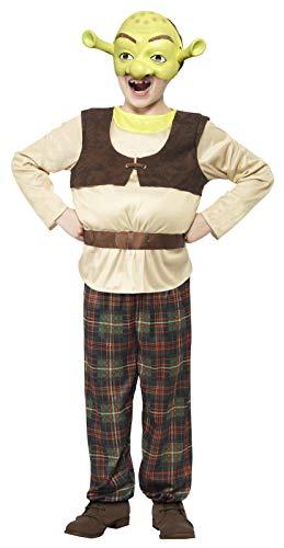 Smiffy's 20490S - Shrek Bambini Costume Verde con Imbottite Top Pantaloni e Maschera, S