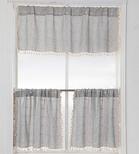 YoKii Boho Tassel Valances for Windows Modern Farmhouse Cotton Linen Valance Kitchen Curtains Topper Country Gingham Window Treatments Tier Curtain for Bathroom Bedroom Decors (W52 x L18, Gray)