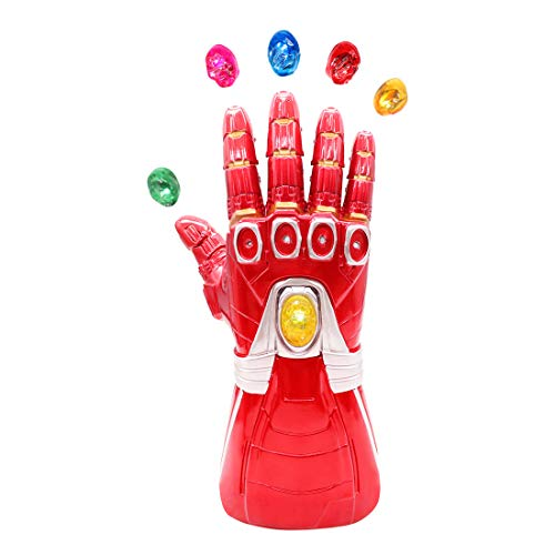 Bulex Iron Man Infinity Gauntlet for Kids with Removable Magnet Infinity Gem Stones Electronic Fist Halloween Cosplay Props (Red Kid Size)