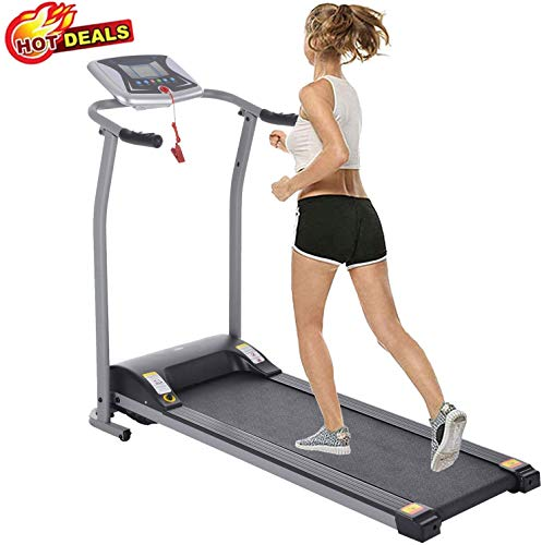 Folding Treadmill Electric Motorized Power Walking Jogging Running Exercise Fitness Machine Trainer Equipment for Home Gym Office Space Saver Easy Assembly (Silver)