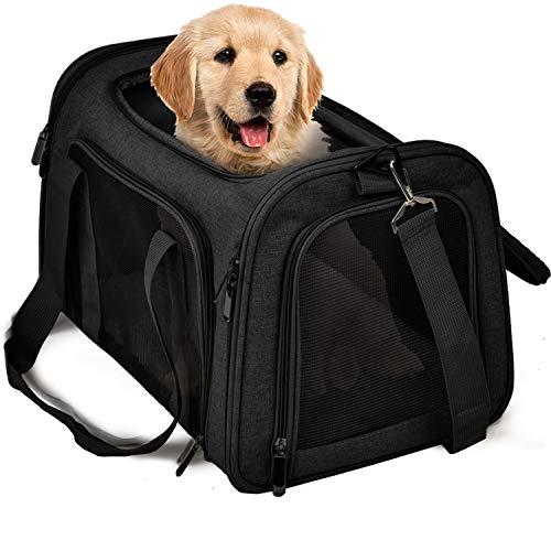 TrutDotペットキャリーバッグ 安全な猫キャリーバッグ 通気性 犬キャリー ショルダー 折りたたみ 手提げキャリーバッグ マット付きキャリー M ブラック