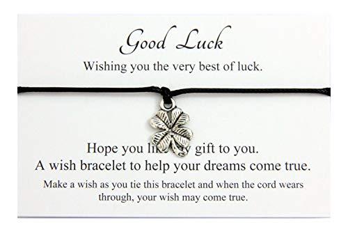 Good Luck Handmade Four Leaf Clover Charm Wish Bracelet Friendship,Organza Gift bag (Black)