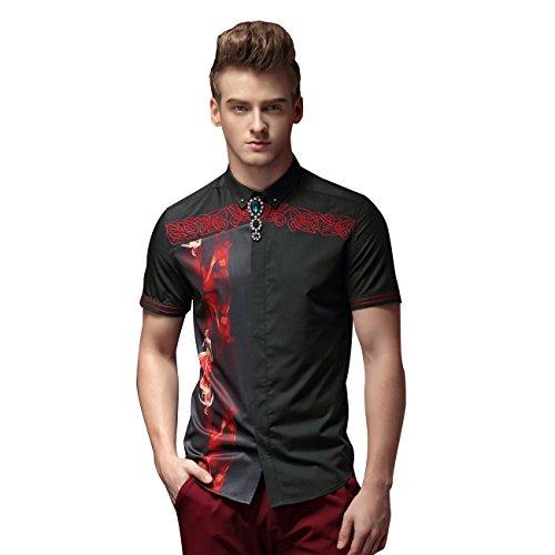 FANZHUAN Men Shirt Graphic Black Shirt Graphic Shirts Short Sleeve Slim Fit Mens Shirt Fashion