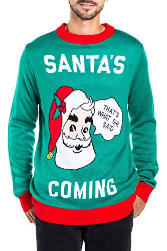 Men's Santa's Coming to Town Funny Christmas Sweater - Green Santa Ugly Christmas Sweater: Medium