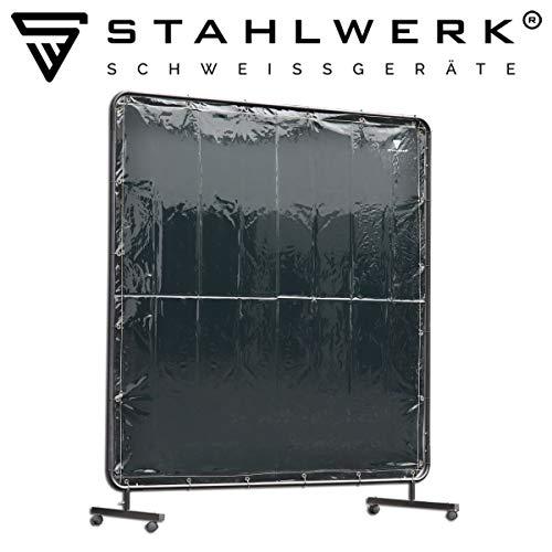 STAHLWERK Schweißschutzwand Schweißerschutzvorhang 1,8m x 1,8m mobil mit Rollen