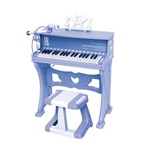 MYRCLMY Piano para Niños, Clásico 30 Key Mini Mini Baby Grand Piano Juguete con Micrófono De Banco Mini Juguete Musical para Niños Piano De Juguete para Niños,Azul
