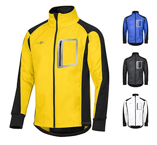 CYCLEHERO Winddichte Fahrradjacke wasserdicht atmungsaktiv reflektierend Softshell Jacke Outdoorjacke (Gelb, XS)