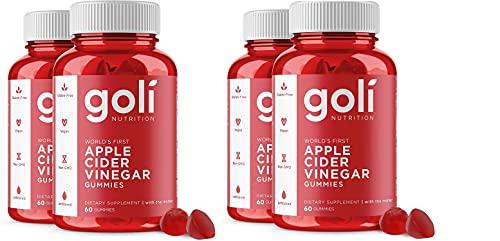 Apple Cider Vinegar Gummy Vitamins by Goli Nutrition - Immunity & Detox - (1 Pack, 240 Count, with The Mother, Gluten-Free, Vegan, Vitamin B9, B12, Beetroot, Pomegranate)