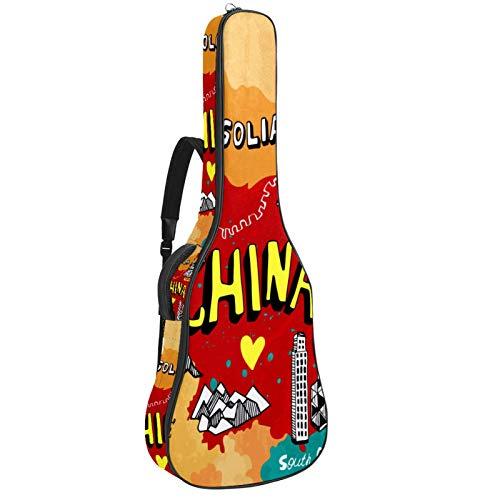 Funda para Guitarra Eléctrica Mapa de china Bolsa Guitarra Acolchada 6mm Tela...
