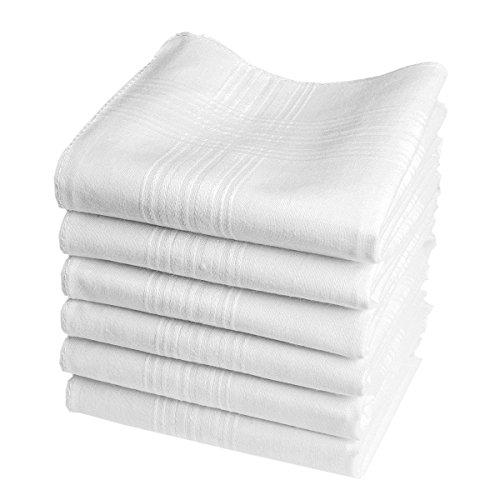 Merrysquare - Mouchoirs Blancs Economiques - Modèle Valentin – Grande Taille 40cm - 6 Pièces - 100% Coton