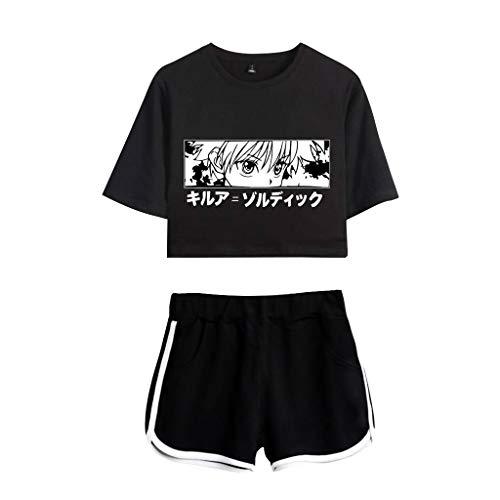 T-Shirt Hunter x Hunter Femme, 3D Top et Jupes Deux Pièces Set Hunter X Hunter Gon Hisoka Killua Kirua Kurapika Cosplay Crop Top Hunter x Hunter Fille Manga Anime Ensembles Shorts et Haut (Bb-b,S)