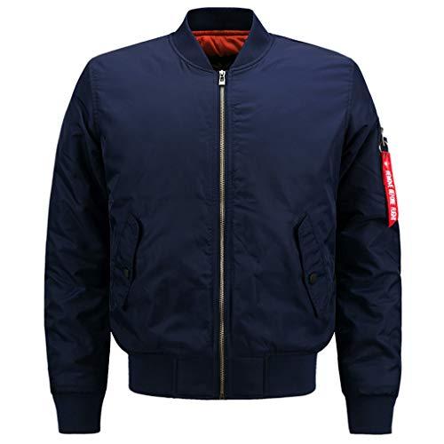 LIXIYU Leichte Herren Sportswear Jacke Lässige Bomberjacke Reißverschluss Jacke Mantel Fliegerjacke Klassischer Trendy Mantel,Blue-5XL