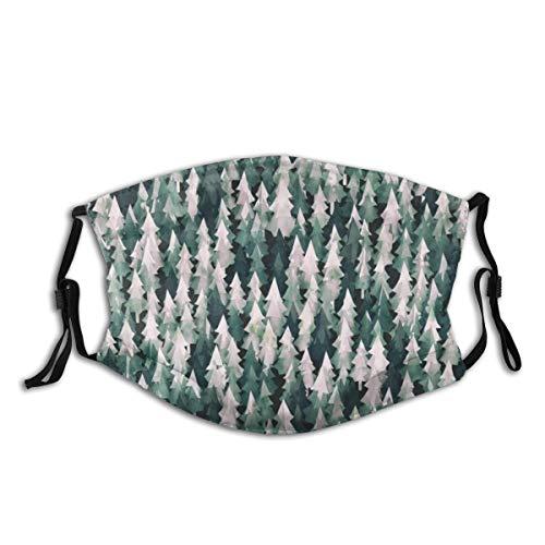 KOSALAER Face Cover Wald, Wasser, Gras, Grün, Muster, Textur, Baum, Blatt, Pflanze Wiederverwendbare Anti-Staub-Mund-Bandanas mit 2 Filtern