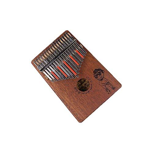 BRNW Piano Kalimba 17 teclas de caoba puro, bonito tono, fácil de transportar, color madera, sonido original, último grillete (color: Brown)