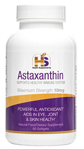 Astaxanthin 10 mg 60 Powerful Antioxidant Dietary Supplement, Aids in Eye, Joint and Skin Health, Maximum Strength 10mg Supports Healthy Immune System