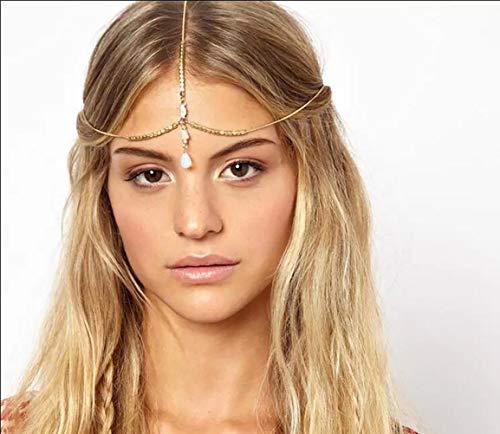 Chargances Women Head Chain White Opal Head Chain Headband Gemstone Vintage Headband Wedding Hair Jewelry Bride Headpiece Bohemia Hair Accessories for Women and Girls