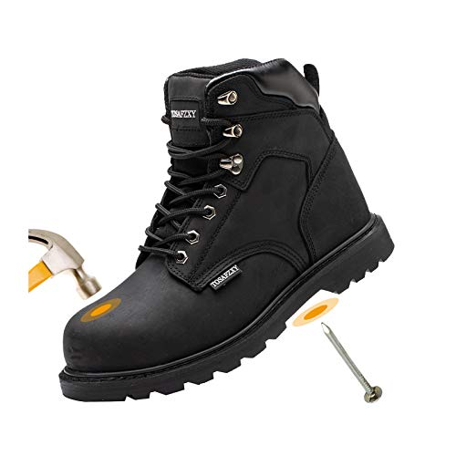TOSAFZXY Work Safety Boots for Men Durable Crazy-Horse Leather Indestructible Steel Toe Waterproof and Non-Slip Better Warmth Men Work Shoes Black 9.5