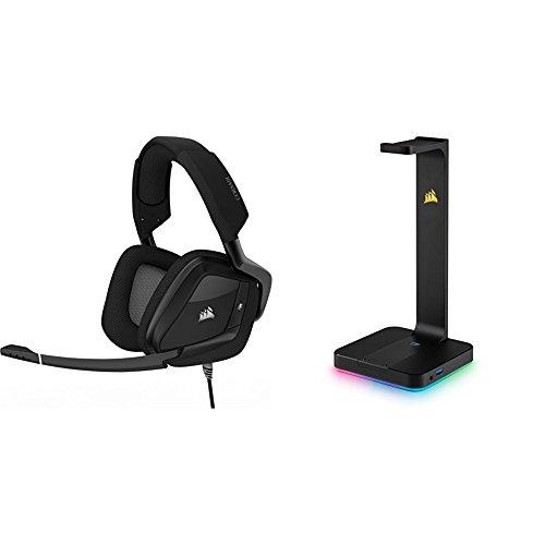 Corsair VOID PRO RGB USB Casque Gaming (PC, USB, Dolby 7.1) Blanc + Corsair - CA-9011153-EU - ST100 RGB Support pour Casque d'Ecoute Haut de Gamme avec son Ambiophonique 7.1 - Noir