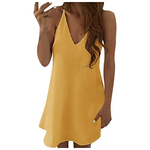 XOXSION Vestido de verano para mujer, con dobladillo irregular, estilo casual, sin mangas, con lazo, para mujer.