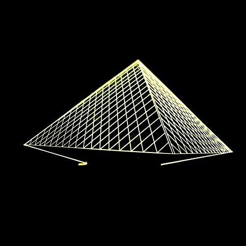 L.W.S Lámpara de Escritorio Tabla de luz pirámide LED Degradado Colorido Atmósfera 3D Toque Luz Noche Luz USB Cama remota Cumplea?os Cumplea?os 20 * 13 cm