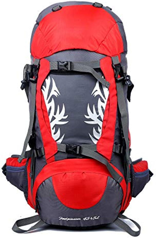 HWYD Outdoor Rucksack 50L Wasserdicht Geeignet für Mnner und Frauen Reisen Wandern Klettern Bergsteigen Camp Reise Camping,rot