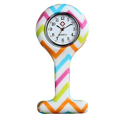 Avaner Reloj de Enfermera Silicona, Reloj Médico de Colores, Redondo Reloj Prendedor de Broche de Túnica de Paramédico Doctor, Reloj de Bolsillo,Regalo para Enfermera Médico Doctor