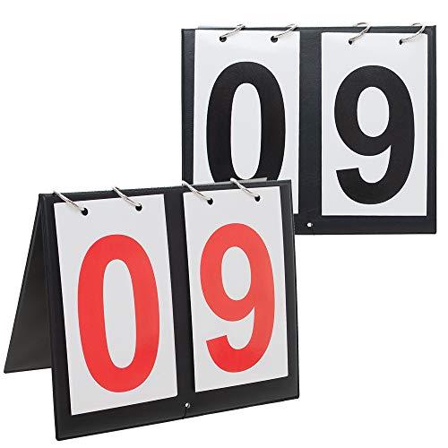 GOGO 2 Sets Tragbare Sport-Anzeigetafeln f¨¹r Tischplatten, 00-99-Rot + Schwarze Nummer